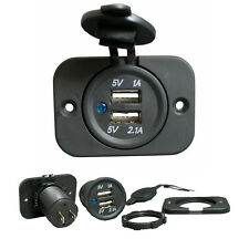Car 12v to 2 x USB Charger Socket 2.1A & 1A Charging for iPad iPhone Samsung etc