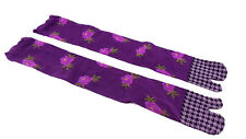 Ladies Long Ninja Tabi Flip Flop Sandal Socks 54cm Geta Geisha Floral PURPLE