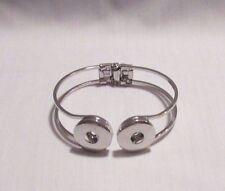 Silver Alloy Spring Bangle Button Snaps Bracelet - Fits 18-20mm Ginger Brands D2
