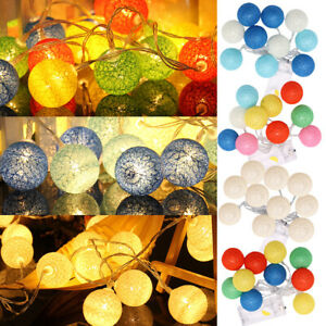 LED Cotton Ball Fairy String Lights Wedding Christmas Party Decor Outdoor Indoor