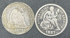 Lot of 2 Seated Liberty Silver Dimes 10c Coins 1872 & 1887