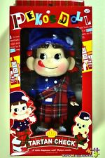 "New AUTH Japan Fujiya Milky Candy 10"" Peko Chan Tartan Check Doll Figure"