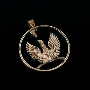 Greece 2 Drachmai Cut Coin pendant with necklace A Phoenix rising from its flame