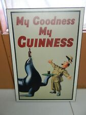 MY GOODNESS MY GUINESS wood beer wall sign ad Hitler seal gilroy 27 x 20