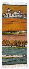 More details for landscape modernist vintage 1970s polish folk art textile wall hanging / rug