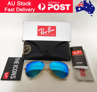 Sale ! RayBan Aviator Sunglasses Blue Mirror Lenses Gold Frames RB 3025 58mm
