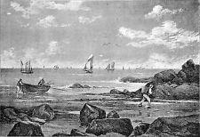 PECHEUR à PIED entre les ROCHERS d'une PLAGE de l'ILE d'OLERON au XIXeme siècle