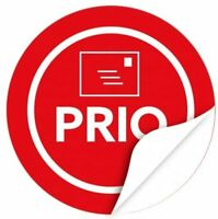 48 Hinweisaufkleber Prio Priorität Versand-Etiketten Sticker rot