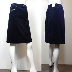 PER UNA Knee Length A-LINE Cord SKIRT ~ Size 16 ~ NAVY BLUE