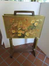 Vintage Set 4 TV trays metal frame Floral design signed cart 5 pc. Mid century