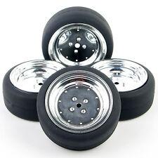4 Pcs HSP HPI RC 1:10 On-Road Car Flat Drift Tires Wheel Rims Hub PP0107+PP0338