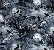 Crows Patchworkstoffe Stoff Raben Gothic Halloween Patchwork Baumwollstoff Vögel