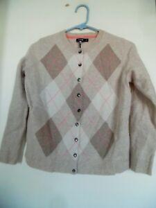 Apt. 9 Women  Beige Argyle Cardigan  Sweater 100% Cashmere Tag Sz XL Actual M