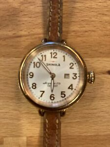 Shinola Birdy Rose Gold 34mm Pearl Face Brown Leather Band.
