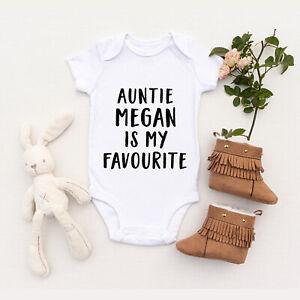 Personalised Custom Auntie is my Favourite Baby Shower Vest Baby Grow Bodysuit