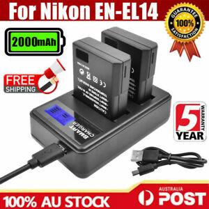2X 2000mAh EN-EL14 Battery + LCD Dual Charger For Nikon D3200 D5100 D5500 D5300