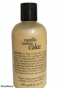 Philosophy Vanilla Birthday Cake Shampoo Shower Gel Bubble Bath 8 Fl Oz Bottle