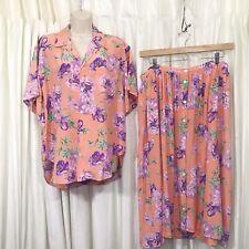 Ralph Lauren Vintage Set Blouse&Skirt Floral Silk Hawaiian Camp Coord Size 14/16
