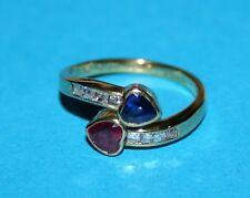 Original Wempe Ring Saphir- & Rubin-Herz, Prinzess Diamanten 750 Gold edel TOP