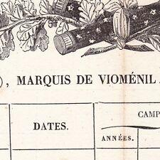 États de Services du Houx de Vioménil Napoleon Bonaparte Fauconcourt Vosges