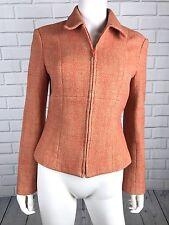 Tahari Womens Jacket Blazer Size 6 Orange Wool Blend Career Wear to Work