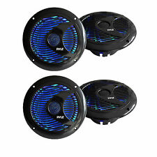 4 X New 6.5'' Inch 150 Watts Marine Boat Stereo Speakers W/Multi-Color LED Ligth
