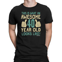 Mens 40th BIRTHDAY T-Shirt AWESOME 40 Years Old Joke Funny Gift Forty