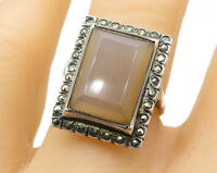 GERMANY 925 Silver - Vintage Gemstone With Marcasite Cocktail Ring Sz 7 - R6694