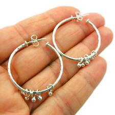 Hoops 925 Sterling Silver Ball Bead Gypsy Circle Earrings