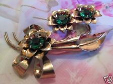 Vintage Sterling Silver Rose Gold Vermeil Art Deco Bouquet Brooch Pin Jewelry !!