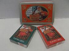 Coca Cola Nostalgia Double Deck Santa Playing Cards With Embosse Tin NIB 1998!