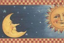 Wallpaper Border David Carter Brown Country Sun & Moon on Starry Sky Check Trim