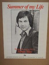 Foglio CANZONE estate della mia vita Simon maggio 1976