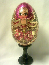 Russian Hand Painted Wooden Egg+Stand-Big Eyed Girl-Hot Pink Foil-Solid Wood-3""