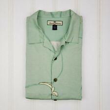 Tommy Bahama Large Silk Shirt Hawaiian Light Green Multicolor Mens Size L Floral