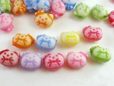 100 pc Colorful Hello Kitty Cat Acrylic Pony Beads Jewelry Crafts 13mm x 10mm