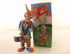 MS 298 Chine Happy Bunny Rabbit Lapin tambour tôle mécanisme à clé neuf en boite