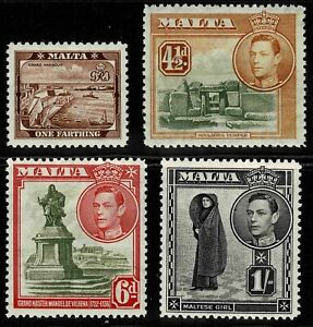 Malta 1938 King George VI And Local Motifs - Part Set Of Four Stamps - MLH