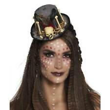 De Luxe Mini Voodoo Femme Chapeau Haut-De-Forme Halloween Tête Mort Déguisement
