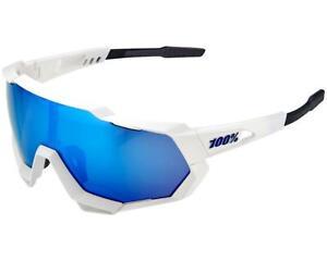 100% Sports Sunglasses Active Performance Speedtrap White HiPER Blue Mirror Lens