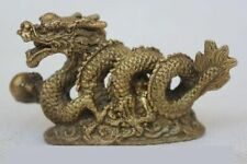Chinese Zodiac Fengshui Pure Brass Wealth Year Fu Running Dragon Statue