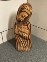 """Vintage Hand Carved Solid Wood Ethnic Woman 14"""" Tall / Old Wood Carving"""