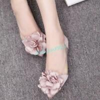 Women's Flower Flats Pointy Toe Slip On Loafers Dating Party Casual Shoes Pumps