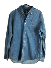 Vintage Ralph Lauren Denim Button Down Shirt Mens Medium Blue Long Sleeve Cotton