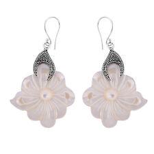 Carved Mother of Pearl Designer Earrings in 925 Sterling Silver - 5.1 cm #N40