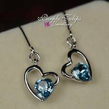 18CT White Gold GP Aquamarine Love Heart Dangle Earrings Made With Swarovski