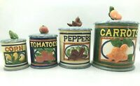 RARE Vtg 4 Ceramic Container Canister Set 1996 Jay Corn Peppers Tomatoes Carrots