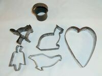 6 Antique PA Tin Biscuit Cookie Cutters Heart, Eagle, Cat, Rabbit, Bird & Round