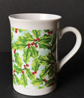 "Royal Norfolk Holly Berry Coffee Mug 5"" Christmas Holiday Collectible"