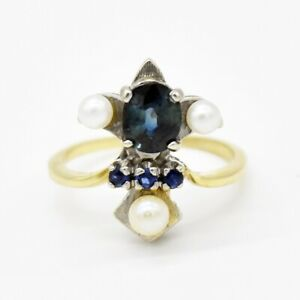 14k Yellow & White Gold Blue Sapphire Pearl Ring Size 7.5